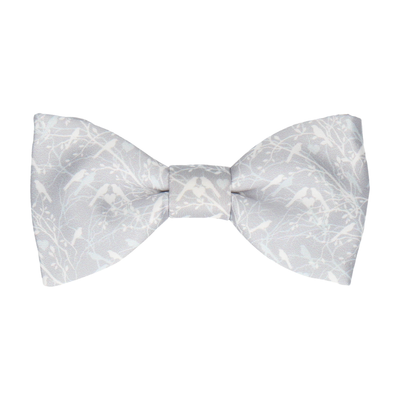 Platinum Grey Love Birds Wedding Bow Tie
