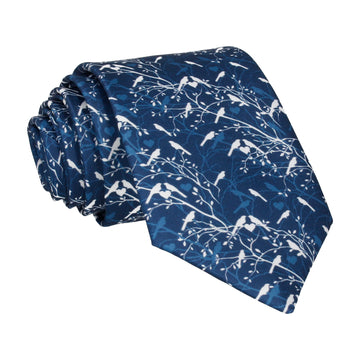 Prussian Blue Love Birds Wedding Tie