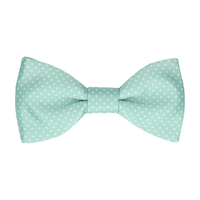 Cool Mint Green Tiny Dots Bow Tie