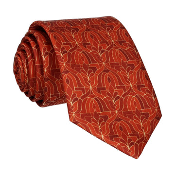 Copper Orange Moroccan Print Tie