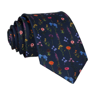 Navy Blue Boho Whimsical Hanging Flowers Tie