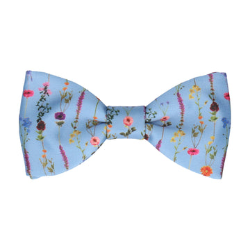 Boho Blue Whimsical Hanging Flowers Bow Tie