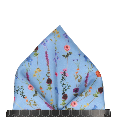 Flower Stems in Dusty Blue Pocket Square