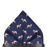 French Bulldogs Navy Blue Pocket Square