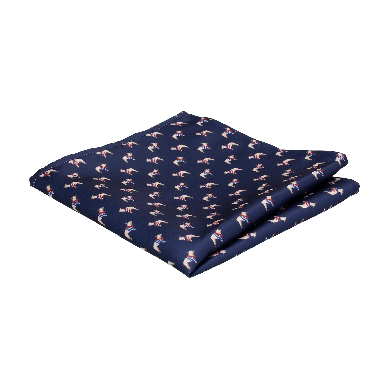 Navy Blue French Bulldog Print Pocket Square