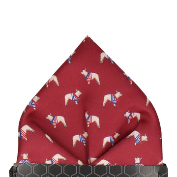 Burgundy Red French Bulldogs Pocket Square