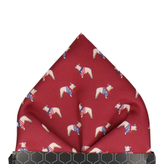 French Bulldogs Burgundy Pocket Square