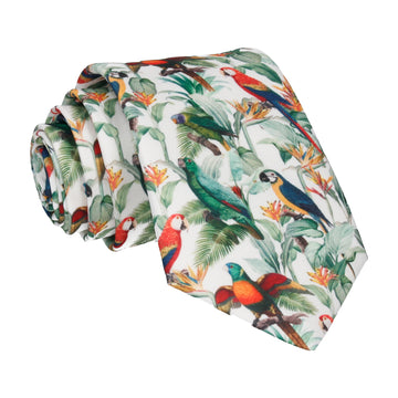 White Tropical Birds Tie