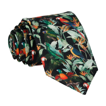 Black Tropical Birds Tie