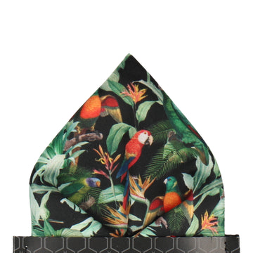 Black Tropical Birds Pocket Square
