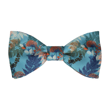 Teal & Coral Woodland Floral Bow Tie