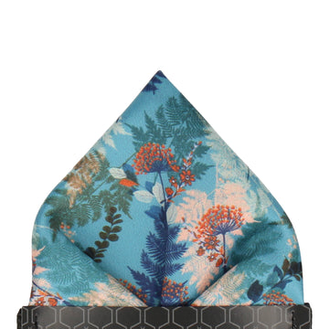 Teal & Coral Woodland Floral Pocket Square