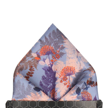Coral & Blue Woodland Floral Pocket Square