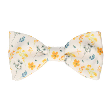 White & Yellow Whimsical Floral Bow Tie