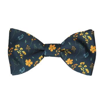 Almelo Floral Navy Blue & Yellow Bow Tie
