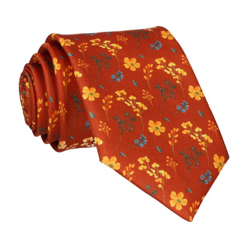 Copper & Yellow Whimsical Floral Tie