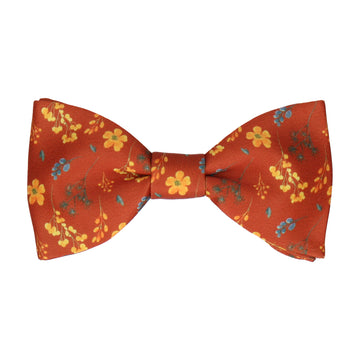 Copper & Yellow Whimsical Floral Bow Tie