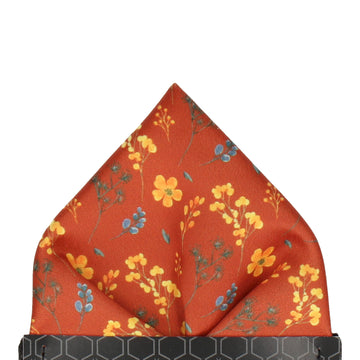 Copper & Yellow Whimsical Floral Pocket Square