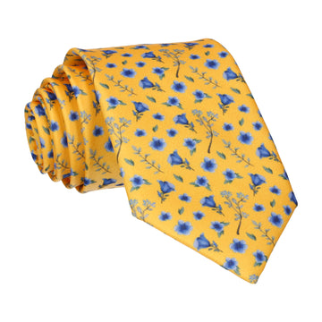 Ditsy Small Floral Yellow & Blue Tie