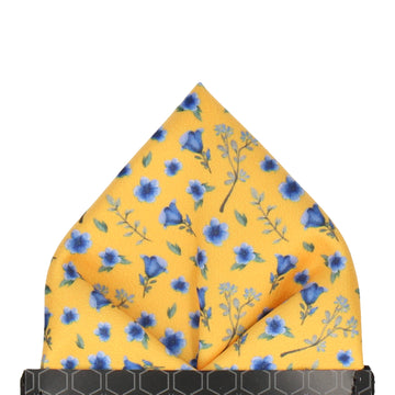 Ditsy Small Floral Yellow & Blue Pocket Square