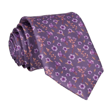 Blossom Ditsy Floral Purple Wedding Tie