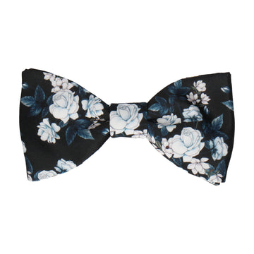 Teal Roses Black Bow Tie