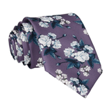 Teal Roses Mauve Purple Tie