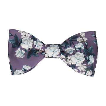 Teal Roses Mauve Purple Bow Tie