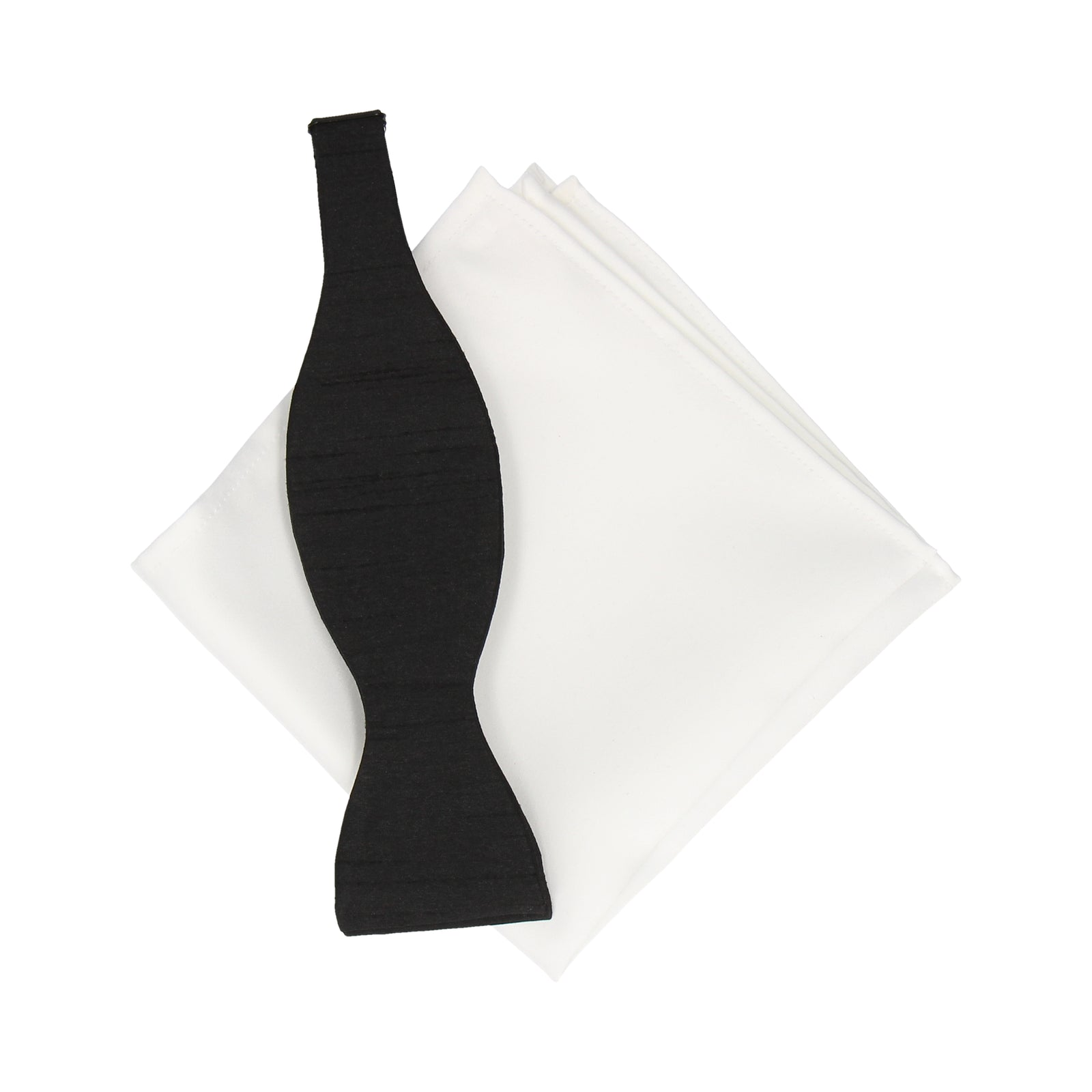 Black Faux Silk Bow Tie & White Cotton Handkerchief Gift Set