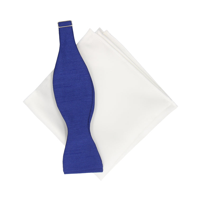 Blue Faux Silk Bow Tie & White Cotton Handkerchief Gift Set