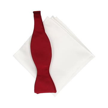 Gift Set | Burgundy Red Satin Bow Tie & White Satin Handkerchief
