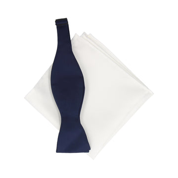 Gift Set | Navy Blue Satin Bow Tie & White Satin Handkerchief
