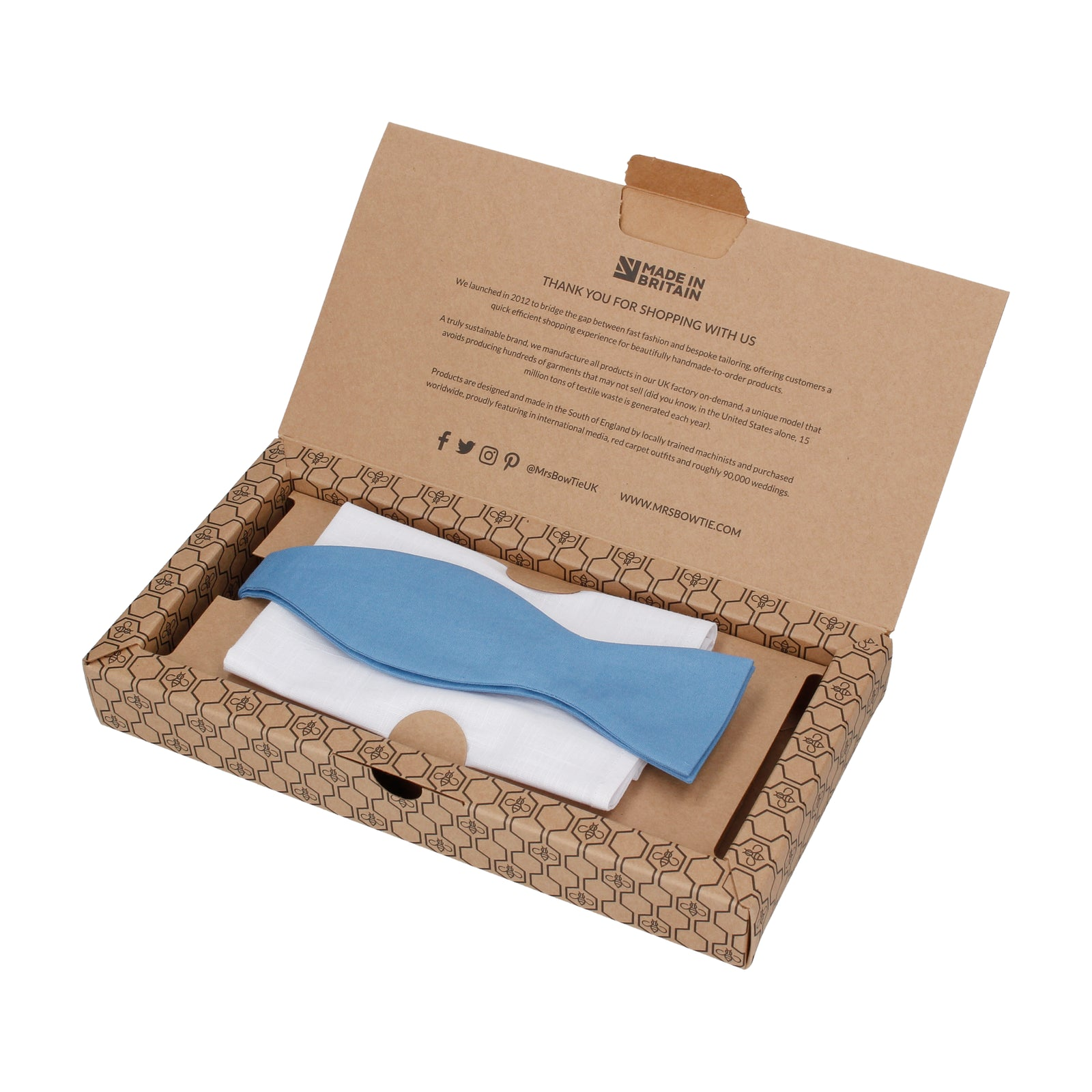 Gift Set | Blue Cotton Bow Tie & White Cotton Handkerchief