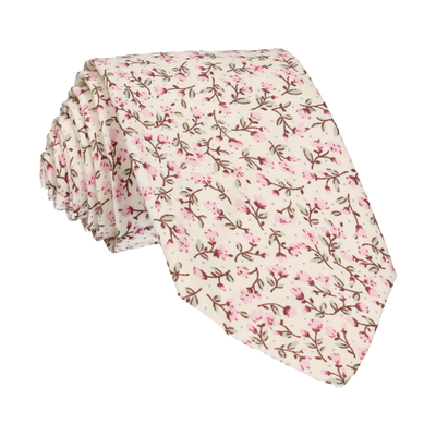 Pink & Vintage White Ditsy Floral Floral Tie