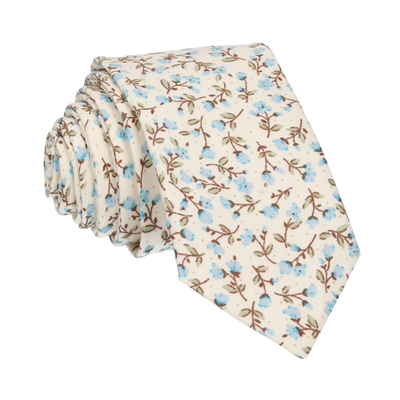 Light Blue & Off White Ditsy Floral Tie