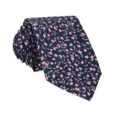 Navy Blue & Pink Ditsy Floral Tie