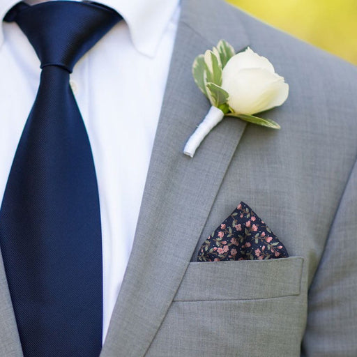 Ashington in Navy Pocket Square - - Pocket Squares and Handkerchiefs by Mrs Bow Tie