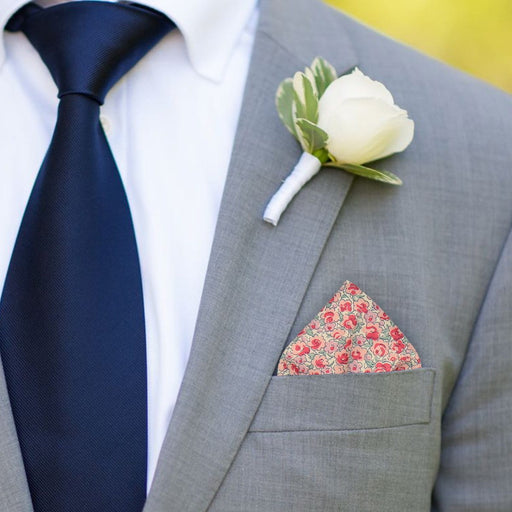 Adwick in Salmon Pocket Square - - Pocket Squares and Handkerchiefs by Mrs Bow Tie
