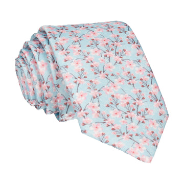 Pink Cherry Blossom Pale Turquoise Tie