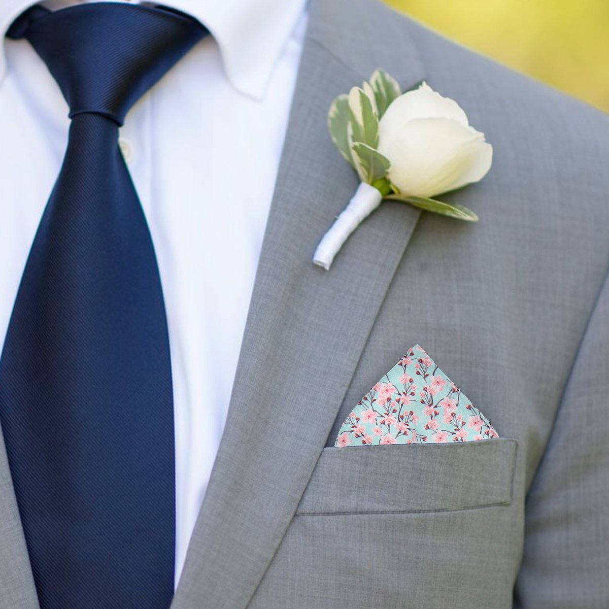 Mottistone in Pale Turquoise Pocket Square