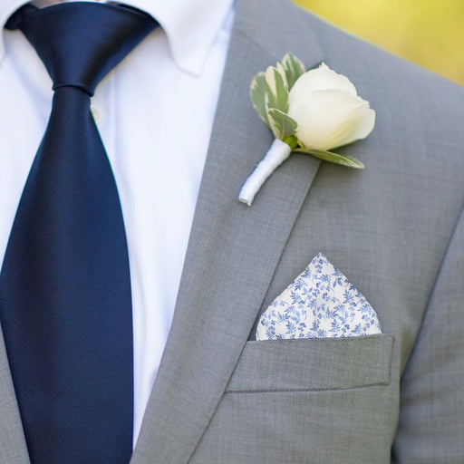 Nostell in White Pocket Square - - Pocket Squares and Handkerchiefs by Mrs Bow Tie