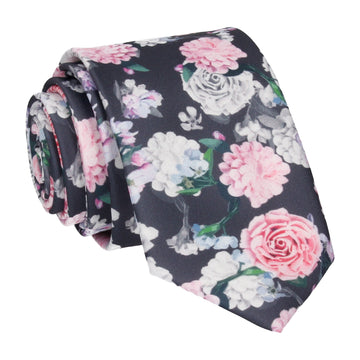 Pink White Floral Blossom Print Tie