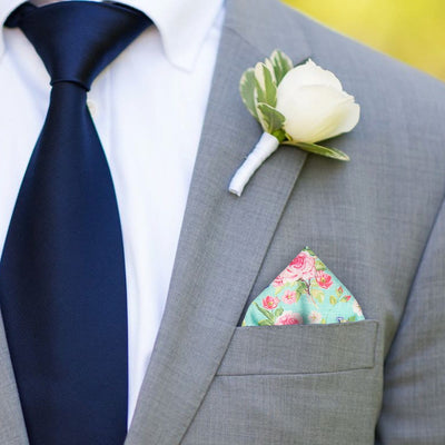 Chintz in Sea Green Pocket Square