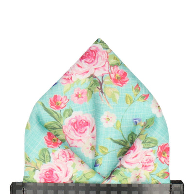 Sea Green Floral Chintz Pocket Square
