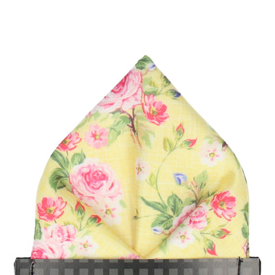 Lemon Yellow Floral Chintz Pocket Square