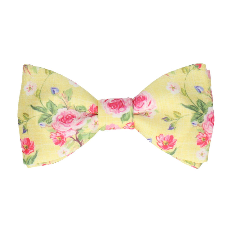 Lemon Yellow Floral Chintz Bow Tie