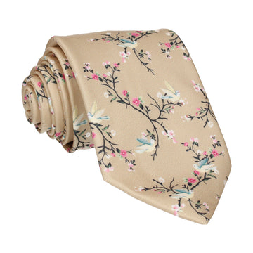 Gold Chinoiserie Floral Tie
