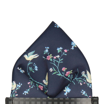 Navy Blue Chinoiserie Floral Pocket Square