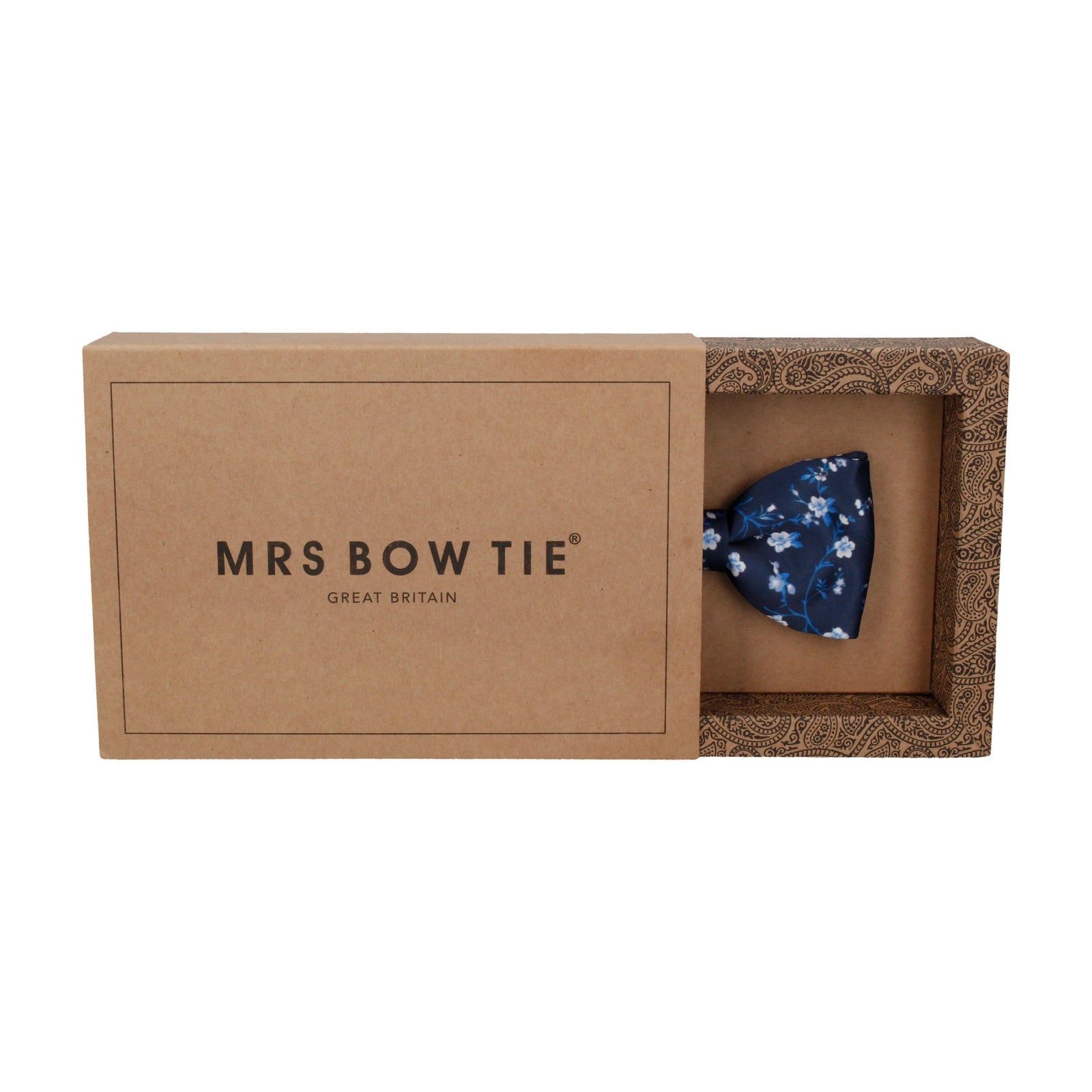 Navy Blue Blossom Floral Bow Tie
