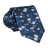 Navy Blue Blossom Floral Tie